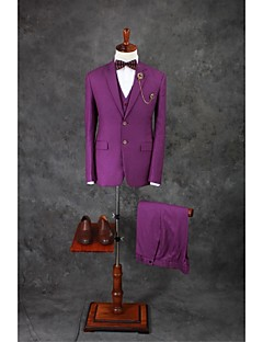 Suits Tailored Fit Notch Single Breasted Two-buttons Cotton Blend Solid 3 Pieces Purple Straight Flapped Double (Two) Purple Double (Two)