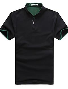 男性用 プレイン カジュアル Tシャツ,半袖 ポリエステル,ブラック / ブルー / グリーン / レッド