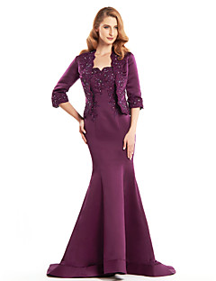 Lanting Trumpet/Mermaid Mother of the Bride Dress - Grape Sweep/Brush Train Half Sleeve Satin