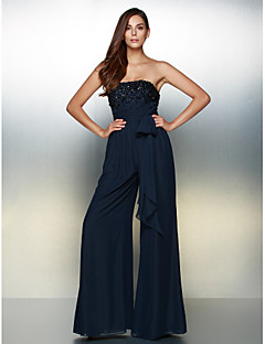 TS Couture® Formal Evening Dress - Dark Navy A-line Strapless Floor-length Chiffon