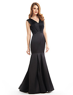 Lanting Trumpet/Mermaid Mother of the Bride Dress - Black Floor-length Sleeveless Satin