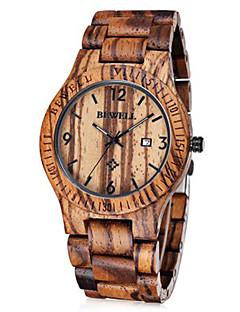 Men's Wrist watch Unique Creative Watch Japanese Quartz Calendar Wood Band Brown Brand