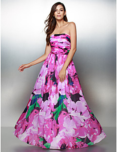 TS Couture® Formal Evening Dress A-line Strapless Ankle-length Chiffon with Pattern / Print