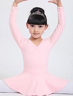 Ballet Dresses Children's Performance Cotton Bow(s) / Tiers 1 Piece Fuchsia / Pink Ballet / Performance Long Sleeve Natural Dress