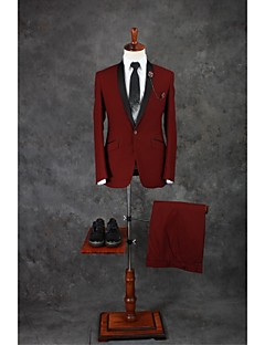 Suits Tailored Fit Shawl Collar Single Breasted One-button Cotton Blend Solid 2 Pieces Burgundy Straight Flapped Double (Two) Double (Two)