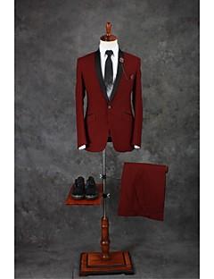 Suits Moderno Xale Comum 1 Butão Misto de Algodão Cor Solida 2 Peças Bordô Lapela Reta Duas Pregas Duas Pregas Botões / Bolsos do Blazer
