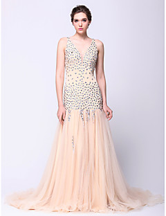 Formal Evening Dress - Champagne Fit & Flare V-neck Court Train Tulle