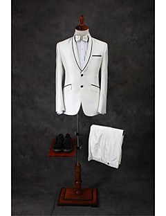 Suits Tailored Fit Shawl Collar Single Breasted Two-buttons Cotton Blend Solid 2 Pieces Ivory Straight Flapped Double (Two) Double (Two)