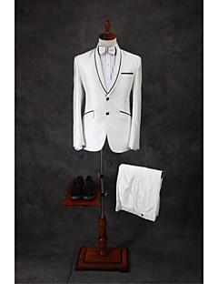 Suits Moderno Xale Comum 2 Butões Misto de Algodão Cor Solida 2 Peças Marfim Lapela Reta Duas Pregas Duas Pregas Botões / Bolsos do Blazer