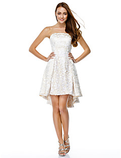 TS Couture® Cocktail Party Dress - Ivory A-line Strapless Asymmetrical Lace