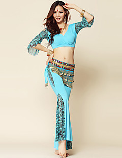 Belly Dance Outfits Women's Performance Spandex / Milk Fiber Draped 3 Pieces Top / Belt / Pants Pants length: 96cm