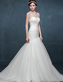 Trumpet / Mermaid Wedding Dress Chapel Train Sweetheart Satin / Tulle with Criss-Cross
