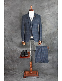 Suits Tailored Fit Notch Single Breasted One-button Cotton Blend Checkered / Gingham 3 Pieces Dark Blue Straight Flapped Double (Two)