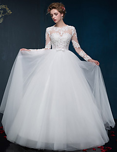 Ball Gown Wedding Dress Floor-length Jewel Satin / Tulle with Appliques / Pearl