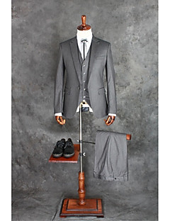 Suits Tailored Fit Peak Single Breasted One-button Cotton Blend Stripes 3 Pieces Gray