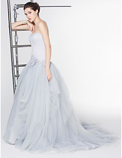 Lanting A-line Wedding Dress - Silver Ankle-length Scoop Lace / Tulle