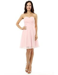 Joelho-comprimento chiffon curto vestido da dama de honra - um namorada linha com atadura