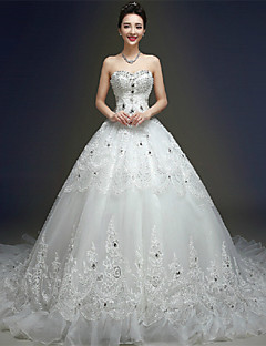Ball Gown Wedding Dress - Ivory Chapel Train Sweetheart Tulle