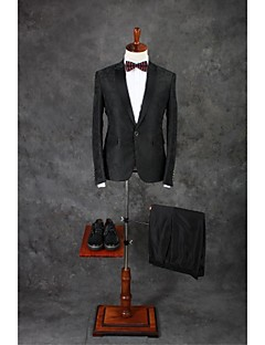 Suits Tailored Fit Notch Single Breasted One-button Cotton Solid 2 Pieces Dark Gray Straight Flapped Double (Two) Dark Gray Double (Two)
