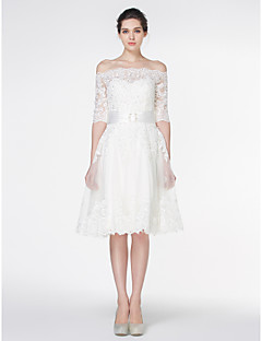 A-line Wedding Dress-Knee-length Off-the-shoulder Lace