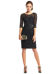 TS Couture® Cocktail Party Dress - Black Sheath/Column Scoop Knee-length Lace
