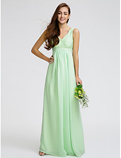 Lanting Bride® Floor-length Chiffon / Lace Bridesmaid Dress Sheath / Column V-neck with Lace / Sash / Ribbon