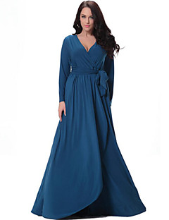 Women's Party/Cocktail Plus Size Plus Size Dress,Solid V Neck Midi Long Sleeve Blue Spandex Fall