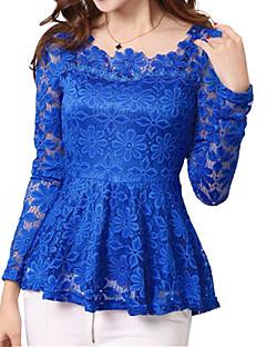 Γυναικεία Μπλούζα Εξόδου Απλό Μονόχρωμο,Μακρυμάνικο Λαιμόκοψη U Άνοιξη Μεσαίου Πάχους Πολυεστέρας / Νάιλον Μπλε / Ροζ / Άσπρο / Μαύρο