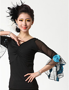 Ballroom Dance Tops Women's Performance Crepe Milk Fiber Draped 1 Piece Top 52  53  54  55