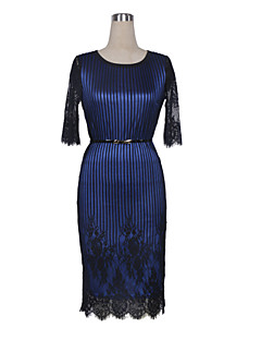 Women's Party / Cocktail / Work A Line Dress , Round Neck Knee-length Polyester / Spandex