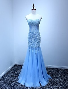 Formal Evening Dress Trumpet / Mermaid Sweetheart Floor-length Tulle with Appliques / Beading