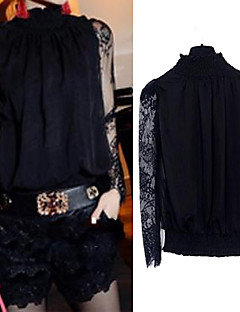 Women 's  Fashion New Style Lace Splicing  Long Sleeve Blouse