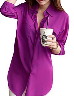 Damen Hemd Chiffon / Polyester ¾-Arm V-Ausschnitt