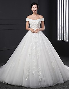 Ball Gown Wedding Dress Chapel Train Off-the-shoulder Lace with Beading