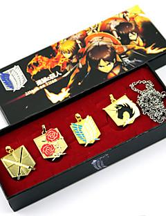 תכשיטים קיבל השראה מ Attack on Titan קוספליי אנימה אביזרי קוספליי שרשרת חום / מוזהב / כסף סגסוגת זכר