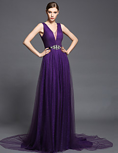 Formal Evening Dress - Ruby / Burgundy / Regency Ball Gown V-neck Court Train Chiffon / Tulle / Charmeuse