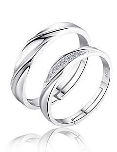 Ringen voor stelletjes Bandringen Liefde Bruids Sterling zilver Zirkonia Cirkelvorm Zilver Sieraden Voor Bruiloft Feest Dagelijks 2 stuks