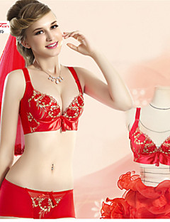 KNF Lady's wedding Bra Sets with double happiness decorations,Bra Sets,Middle Thick A or B-Cup,Four Hook-And-Eye