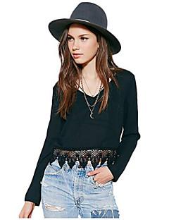 V-hals - Acryl - Uitgesneden - Vrouwen - T-shirt - Lange mouw