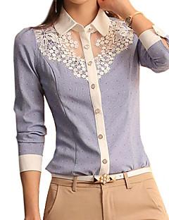 여성의 솔리드 셔츠 카라 긴 소매 셔츠,심플 캐쥬얼/데일리 블루 폴리에스테르 봄 얇음