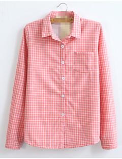 Mulheres Camisa Colarinho de Camisa Manga Longa Vazado Poliéster Mulheres