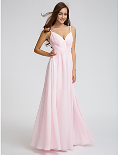 Lanting Bride® Knee-length Chiffon Bridesmaid Dress - A-line Spaghetti Straps with Side Draping / Criss Cross
