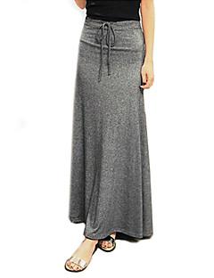 חצאית מקסי המוצק הכותנה של נשים