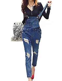Damen Schlank Jeans / Overall Hose-Lässig/Alltäglich Street Schick einfarbig Ripped Tiefe Hüfthöhe Knopf Baumwolle / Polyester