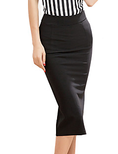 Women's Vintage Bodycon/Casual/Work Knee-length Skirts , Polyester/Nylon Micro-elastic Red/Black/Green