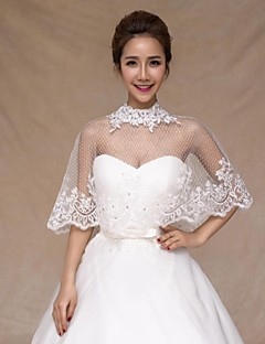 Wedding  Wraps Collars Sleeveless Tulle Ivory Wedding Appliques Crystal Lace