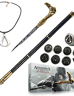 Assassin 's Creed syndikat sockerrör svärd cosplay tillbehör (+ legering ring badge halsband nyckel spänne 13pcs set)
