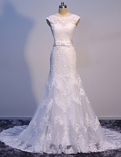 Trumpet / Mermaid Wedding Dress Sweep / Brush Train Bateau Satin / Tulle with Appliques / Bow