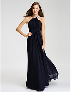 Lanting Bride® Floor-length Chiffon Bridesmaid Dress - Sheath / Column Halter with Beading / Crystal Detailing / Ruffles