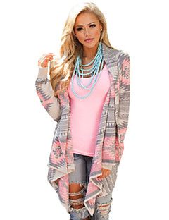 Women's Color Block Geometric Pink / Green Cardigan , Casual / Work Long Sleeve